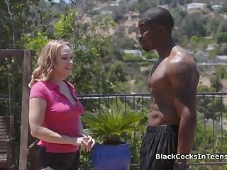 Big black cocked player drills coed in the shower