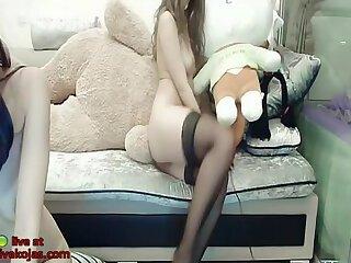 Asian lesbians in lingerie hot show