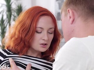 Smoldering redhead jerks her BF's dick before guiding it in her pussy and then ass