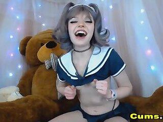 Naughty Babe Fucks Her Super Huge Dildo
