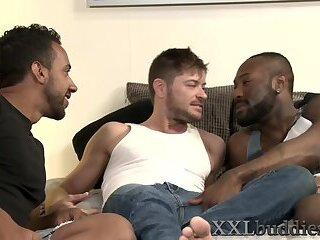 Gay stud rides big cock in threesome