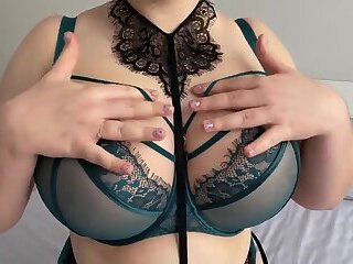 Curvy Secretary in Lace Lingerie with Hairy Pussy