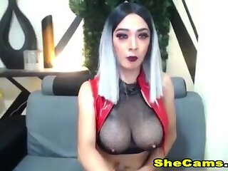 Shemale Jerks and Sucks her Own Cock