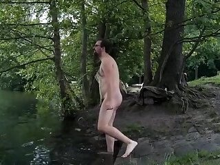 Skinny-dip in public, getting caught naked, cum outdoors