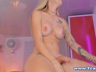 Sexy Shemale Masturbates Her Cock